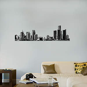 Detroit Skyline Cutout Fathead Wall Decal